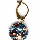 Brisurohrring, 1cm Durchmesser, Light Colorado Topaz, Smoked Topaz, Aquamarine, Blue Zircon