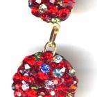 Ohrring, 2cm Durchmesser, Light Siam und bunte kleine Steinchen