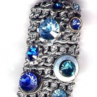 Metallkettenanhänger, 3,5x2cm, Blautöne (Aquamarine, Blue Zircon, Capri Blue, Saphir) auf Silber