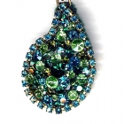 Tropfenanhänger, 5x3,5cm, Grüntöne (Blue Zircon, Peridot, Emerald, Olivine)