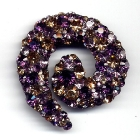 Spiralbrosche, 4,5x4,5cm, Amethyst, Light Amethyst u. Light Colorado Topaz