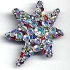 Kleine Sternbrosche, 4,5x4cm, Crystal A.B., Hyazinth, Siam, Saphir, Peridot