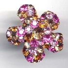 Blumenring, 3,3x3,3cm, Light Rose, Rose, Topaz, Light Colorado Topaz